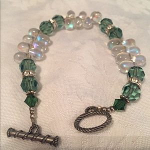 Green And Crystal Glass Bead Bracelet